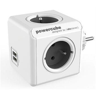 Zásuvka PowerCube ORIGINAL USB, Grey, 4 rozbočka, 2x USB