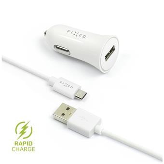 Autonabíječka FIXED, micro USB, 2,4A, bílá