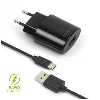 Síťová nabíječka FIXED, USB-C, 2,4A, černá