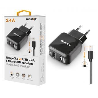 Nabíječka ALIGATOR, 9mm microUSB pro outdoorové telefony, 2xUSB výstup, 2.4A, Turbo charge, černá