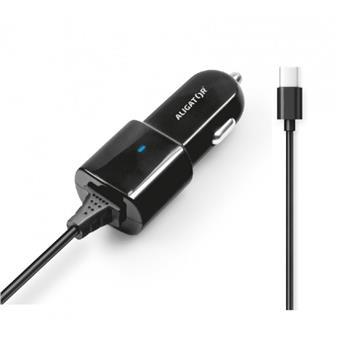 Aligator nab. do auta USB-C s USB TCH 2,4A černá
