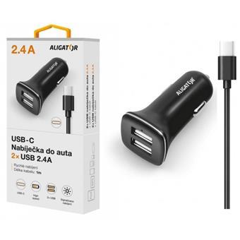 ALIGATOR Nab. do auta USB-C 2,4A TCH, černá
