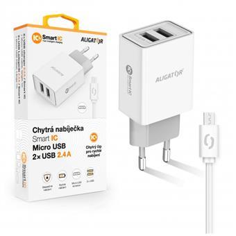 ALIGATOR Chytrá síťová nabíječka 2,4A, 2xUSB, smart IC, bílá, micro USB kabel