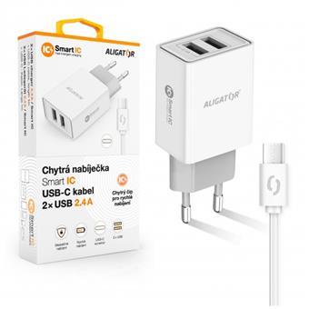 ALIGATOR Chytrá síťová nabíječka 2,4A, 2xUSB, smart IC, bílá, USB-C kabel
