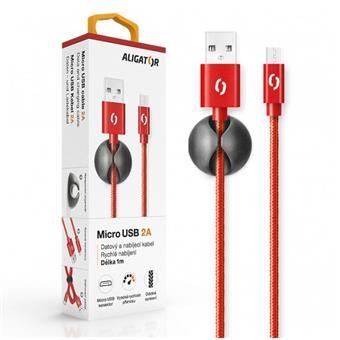 ALIGATOR PREMIUM Datový kabel 2A, Micro USB červený