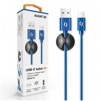 ALIGATOR PREMIUM Datový kabel 2A, USB-C modrá