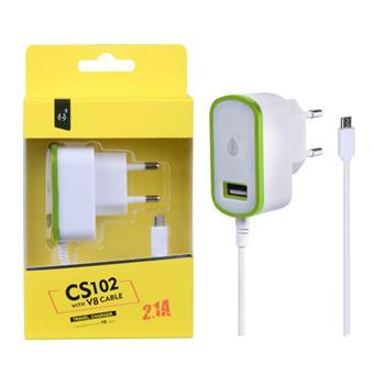 Nabíječka PLUS MicroUSB s USB výstupem 5V/2,1A, zelená