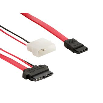 4World Kabel SATA2 13pin F-SATA2 F 7pin F+LP4 50cm