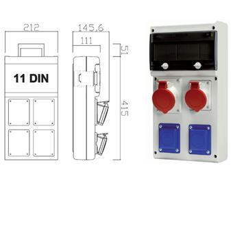 Zásuvková skříň 2x230V,400V/16A,400V/32A,jištěná
