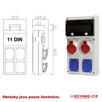 Zásuvková skříň 2x230V,1x400V/32A, jističe,chránič