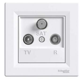 Asfora - zásuvka TV-R-SAT, koncová - 1 dB - bílá