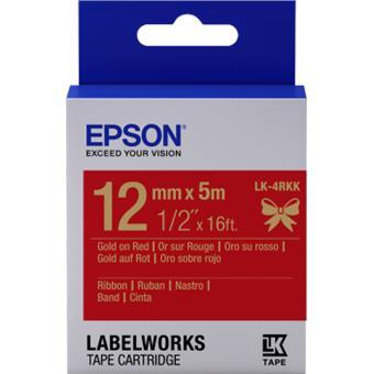 Epson zásobník se štítky – saténový pásek, LK-4HKK, zlatá/červená, 12 mm (5 m)