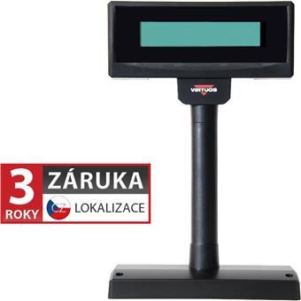 LCD zákaznický displej Virtuos FL-2024MW 2x20, serial (RS-232), 12V, černý