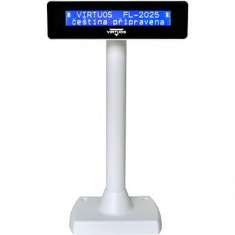 LCD zákaznický displej Virtuos FL-2025 2x20, serial (RS-232), bílý