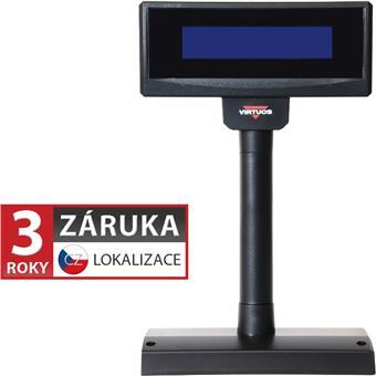 LCD zákaznický displej Virtuos FL-2024MB 2x20, serial (RS-232), 12V, černý