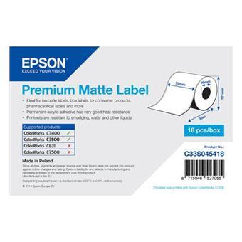 Premium Matte Label Cont.R, 76mm x 35m, MOQ 18ks
