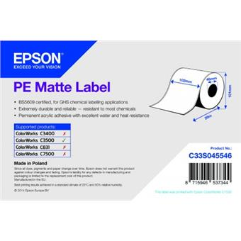 PE Matte Label - Continuous Roll: 102mm x 29m
