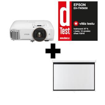 3LCD Epson EH-TW5650,FullHD, 2500 Ansi 60000:1 + plátno Aveli 200 x 125